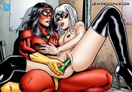 spider woman dildoing black cat